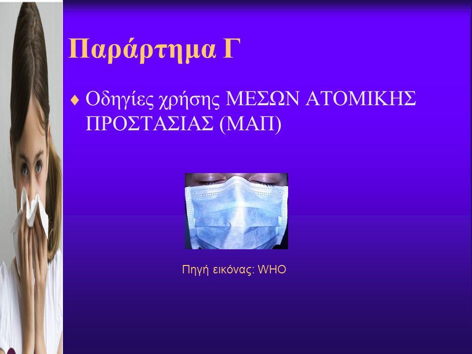 Παράρτημα Γ  Οδηγίες χρήσης ΜΕΣΩΝ ΑΤΟΜΙΚΗΣ ΠΡΟΣΤΑΣΙΑΣ (ΜΑΠ) Πηγή εικόνας: WHO