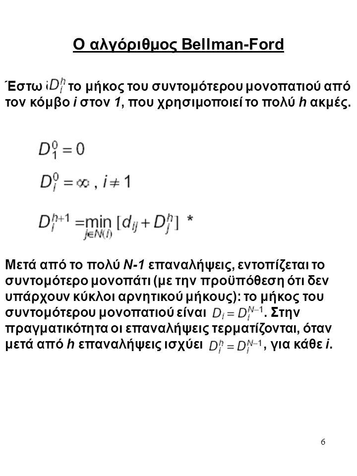 6 Ο αλγόριθμος Bellman-Ford Έστω δι το μήκος του συντομότερου μονοπατιού από τον κόμβο i στον 1, που χρησιμοποιεί το πολύ h ακμές. Μετά από το πολύ Ν-
