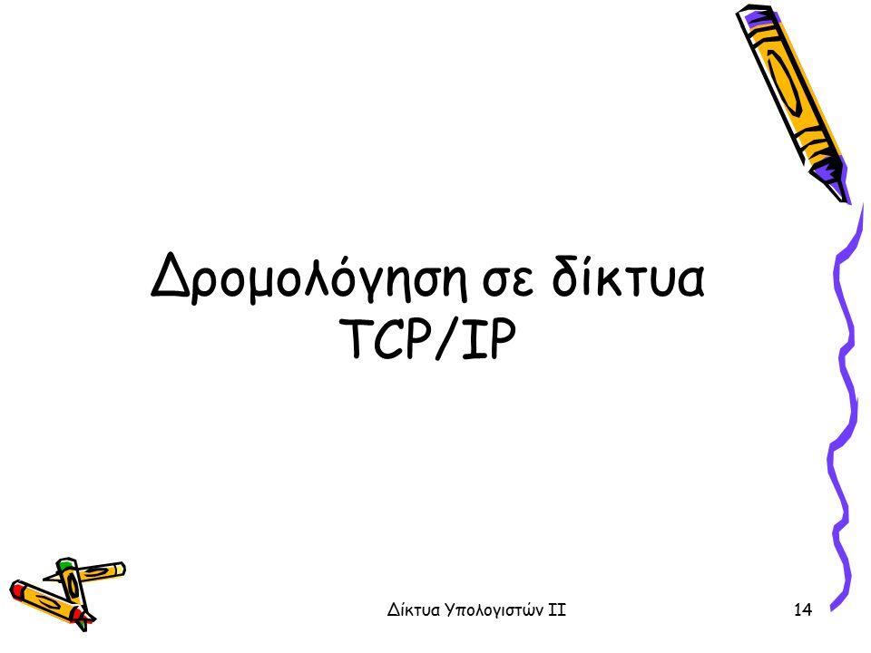 Δρομολόγηση σε δίκτυα TCP/IP Δίκτυα Υπολογιστών ΙΙ14