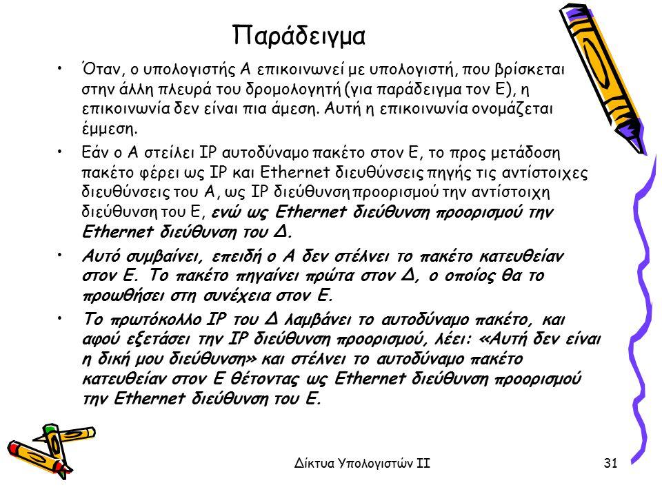 Παράδειγμα Όταν, ο υπολογιστής Α επικοινωνεί με υπολογιστή, που βρίσκεται στην άλλη πλευρά του δρομολογητή (για παράδειγμα τον Ε), η επικοινωνία δεν ε