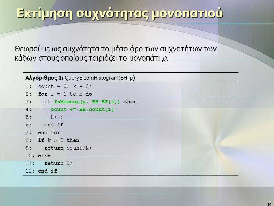 14 Εκτίμηση συχνότητας μονοπατιού Αλγόριθμος 1: QueryBloomHistogram(BH, p) 1: count = 0; k = 0; 2: for i = 1 to b do 3: if IsMember(p, BH.BF[i]) then 4: count += BH.count[i]; 5: k++; 6: end if 7: end for 8: if k > 0 then 9: return count/k; 10: else 11: return 0; 12: end if Θεωρούμε ως συχνότητα το μέσο όρο των συχνοτήτων των κάδων στους οποίους ταιριάζει το μονοπάτι p.