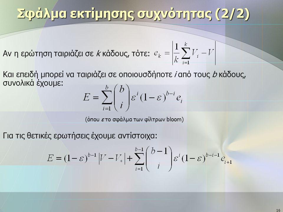 16 Σφάλμα εκτίμησης συχνότητας (2/2) Αν η ερώτηση ταιριάζει σε k κάδους, τότε: Και επειδή μπορεί να ταιριάζει σε οποιουσδήποτε i από τους b κάδους, συνολικά έχουμε: (όπου ε το σφάλμα των φίλτρων bloom) Για τις θετικές ερωτήσεις έχουμε αντίστοιχα: