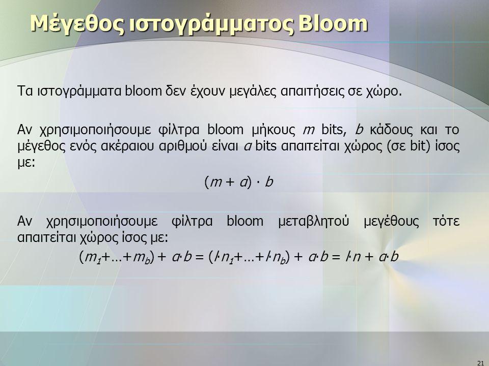 21 Μέγεθος ιστογράμματος Bloom Τα ιστογράμματα bloom δεν έχουν μεγάλες απαιτήσεις σε χώρο. Αν χρησιμοποιήσουμε φίλτρα bloom μήκους m bits, b κάδους κα