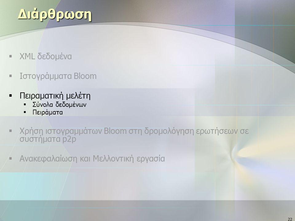 22 Διάρθρωση  XML δεδομένα  Ιστογράμματα Bloom  Πειραματική μελέτη  Σύνολα δεδομένων  Πειράματα  Χρήση ιστογραμμάτων Bloom στη δρομολόγηση ερωτήσεων σε συστήματα p2p  Ανακεφαλαίωση και Μελλοντική εργασία
