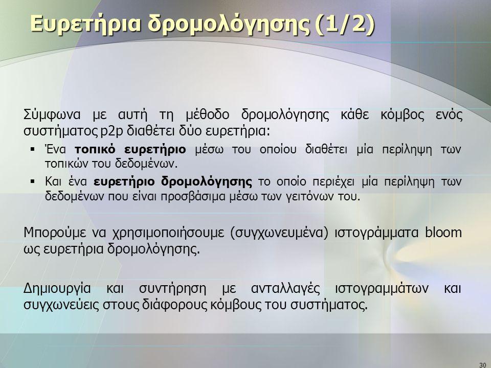 30 Ευρετήρια δρομολόγησης (1/2) Σύμφωνα με αυτή τη μέθοδο δρομολόγησης κάθε κόμβος ενός συστήματος p2p διαθέτει δύο ευρετήρια:  Ένα τοπικό ευρετήριο