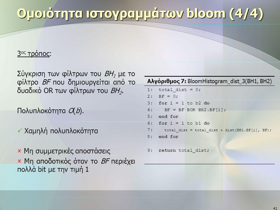 41 Ομοιότητα ιστογραμμάτων bloom (4/4) 3 ος τρόπος: Σύγκριση των φίλτρων του ΒΗ 1 με το φίλτρο BF που δημιουργείται από το δυαδικό OR των φίλτρων του BH 2.