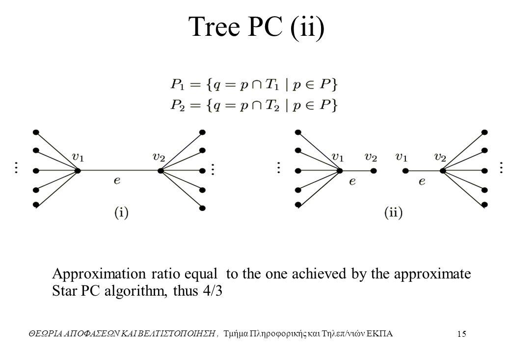 ΘΕΩΡΙΑ ΑΠΟΦΑΣΕΩΝ ΚΑΙ ΒΕΛΤΙΣΤΟΠΟΙΗΣΗ, Τμήμα Πληροφορικής και Τηλεπ/νιών ΕΚΠΑ 15 Tree PC (ii) Approximation ratio equal to the one achieved by the approximate Star PC algorithm, thus 4/3