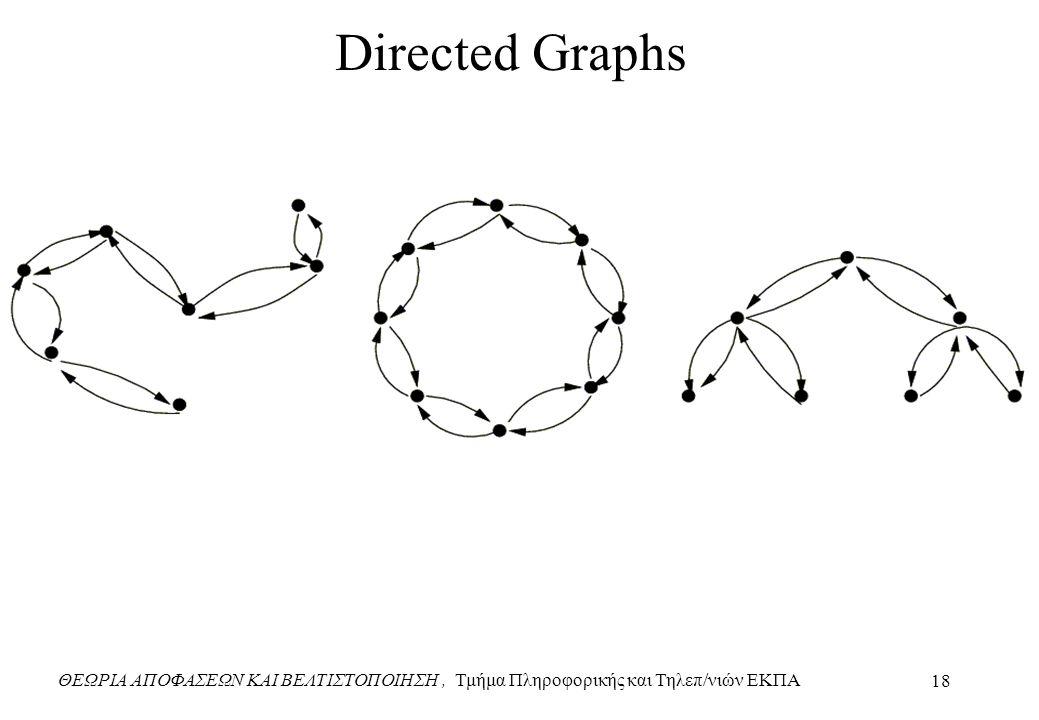ΘΕΩΡΙΑ ΑΠΟΦΑΣΕΩΝ ΚΑΙ ΒΕΛΤΙΣΤΟΠΟΙΗΣΗ, Τμήμα Πληροφορικής και Τηλεπ/νιών ΕΚΠΑ 18 Directed Graphs