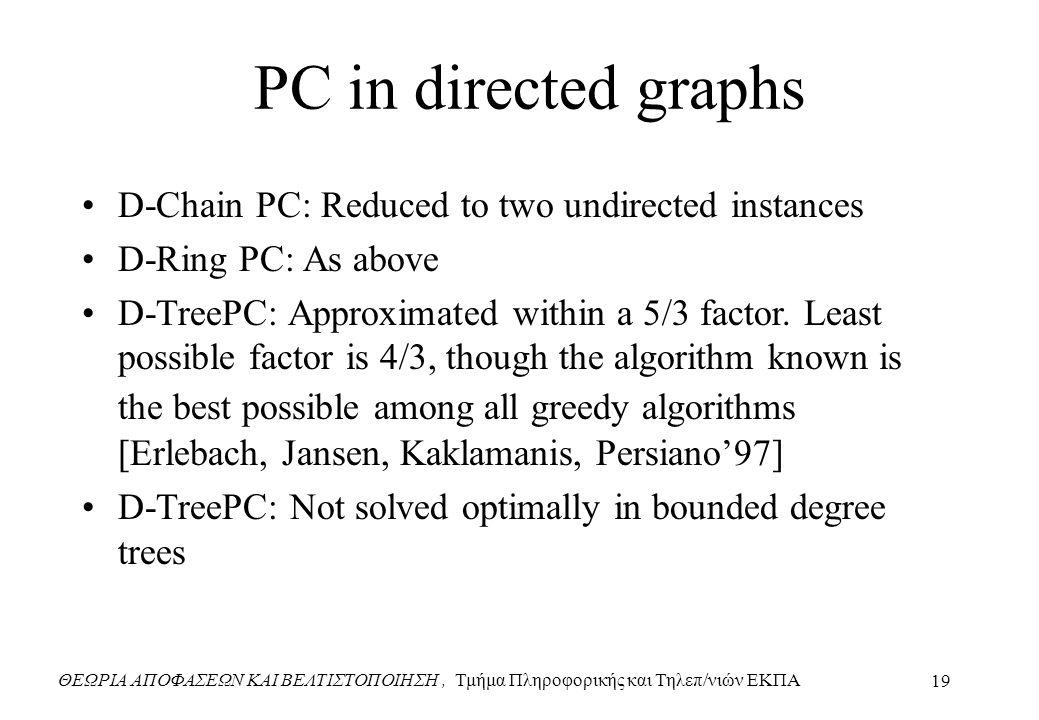 ΘΕΩΡΙΑ ΑΠΟΦΑΣΕΩΝ ΚΑΙ ΒΕΛΤΙΣΤΟΠΟΙΗΣΗ, Τμήμα Πληροφορικής και Τηλεπ/νιών ΕΚΠΑ 19 PC in directed graphs D-Chain PC: Reduced to two undirected instances D-Ring PC: As above D-TreePC: Approximated within a 5/3 factor.