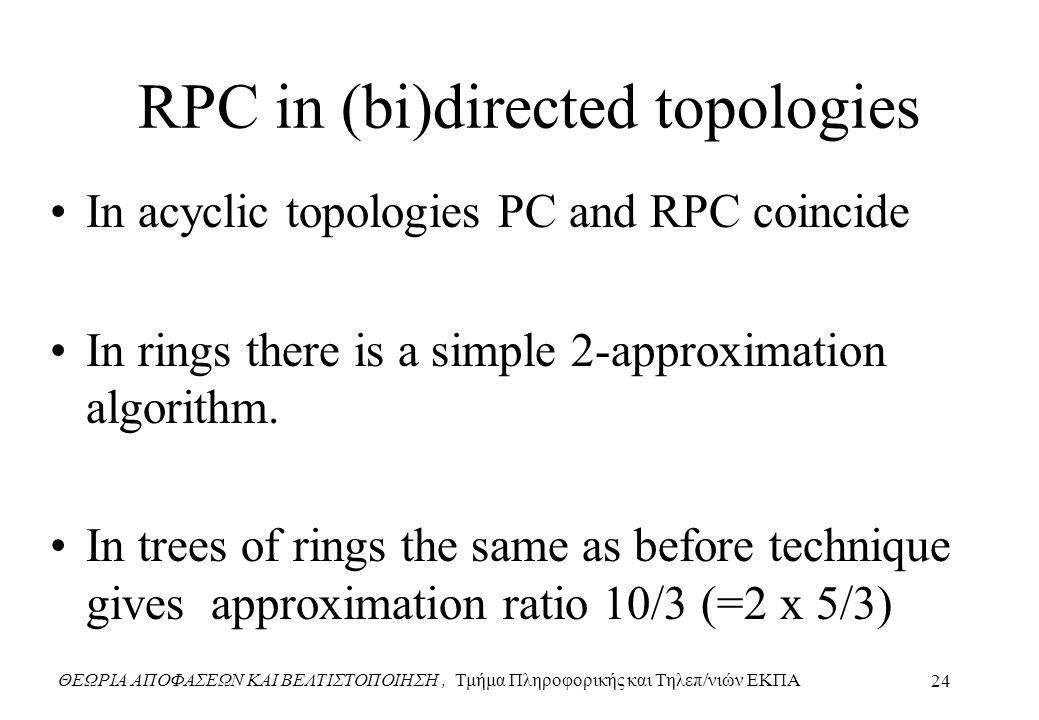 ΘΕΩΡΙΑ ΑΠΟΦΑΣΕΩΝ ΚΑΙ ΒΕΛΤΙΣΤΟΠΟΙΗΣΗ, Τμήμα Πληροφορικής και Τηλεπ/νιών ΕΚΠΑ 24 RPC in (bi)directed topologies In acyclic topologies PC and RPC coincide In rings there is a simple 2-approximation algorithm.