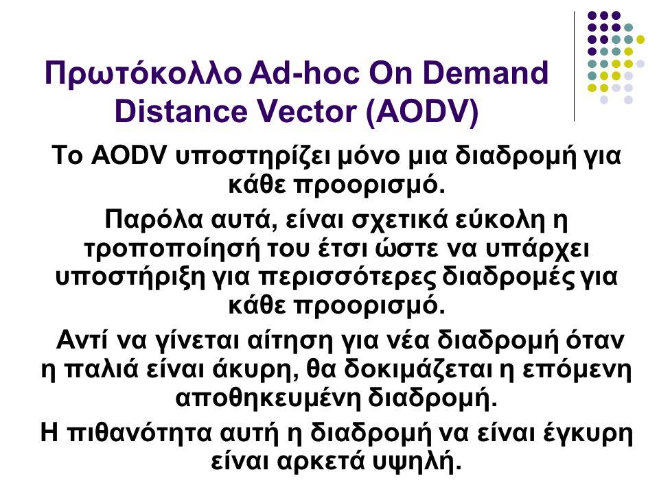 Το AODV υποστηρίζει μόνο μια διαδρομή για κάθε προορισμό.