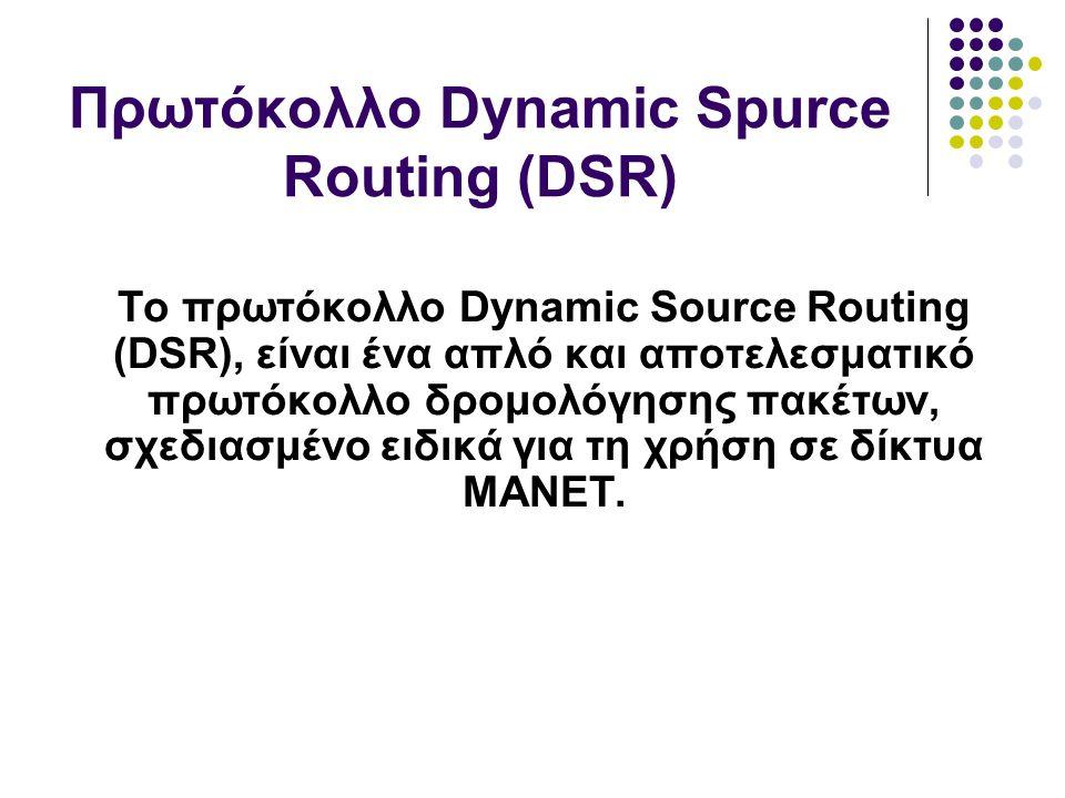 Το πρωτόκολλο Dynamic Source Routing (DSR), είναι ένα απλό και αποτελεσματικό πρωτόκολλο δρομολόγησης πακέτων, σχεδιασμένο ειδικά για τη χρήση σε δίκτυα MANET.