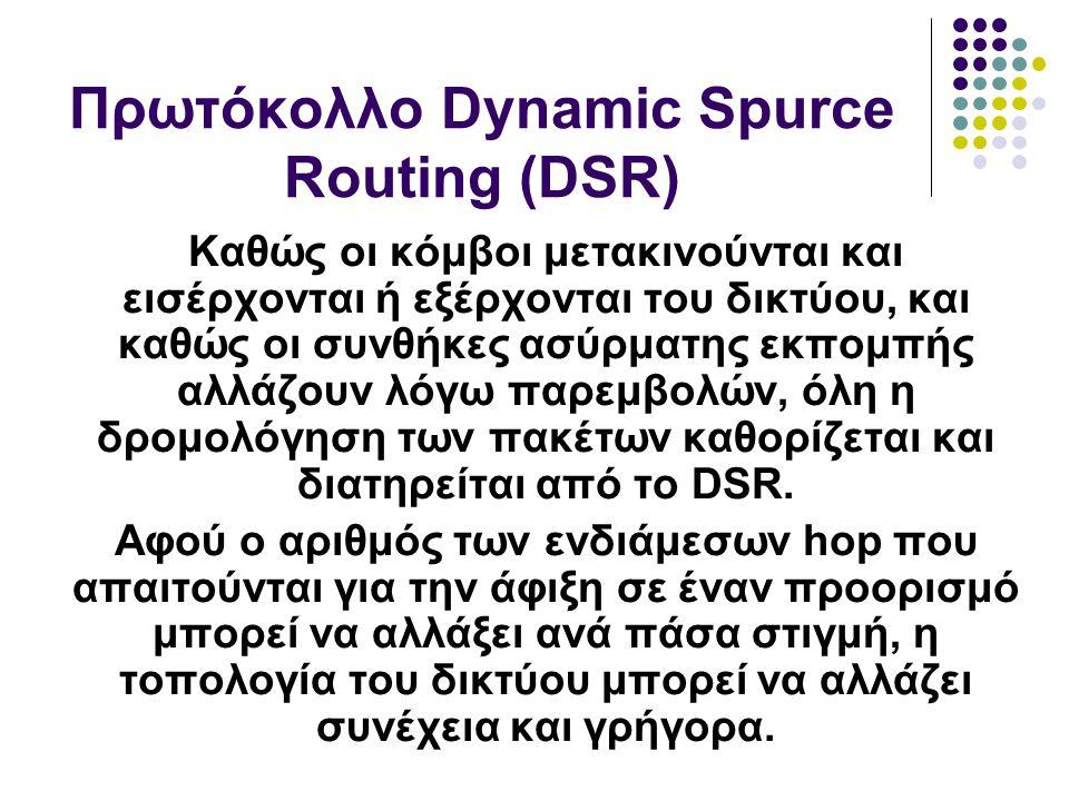 Καθώς οι κόμβοι μετακινούνται και εισέρχονται ή εξέρχονται του δικτύου, και καθώς οι συνθήκες ασύρματης εκπομπής αλλάζουν λόγω παρεμβολών, όλη η δρομολόγηση των πακέτων καθορίζεται και διατηρείται από το DSR.