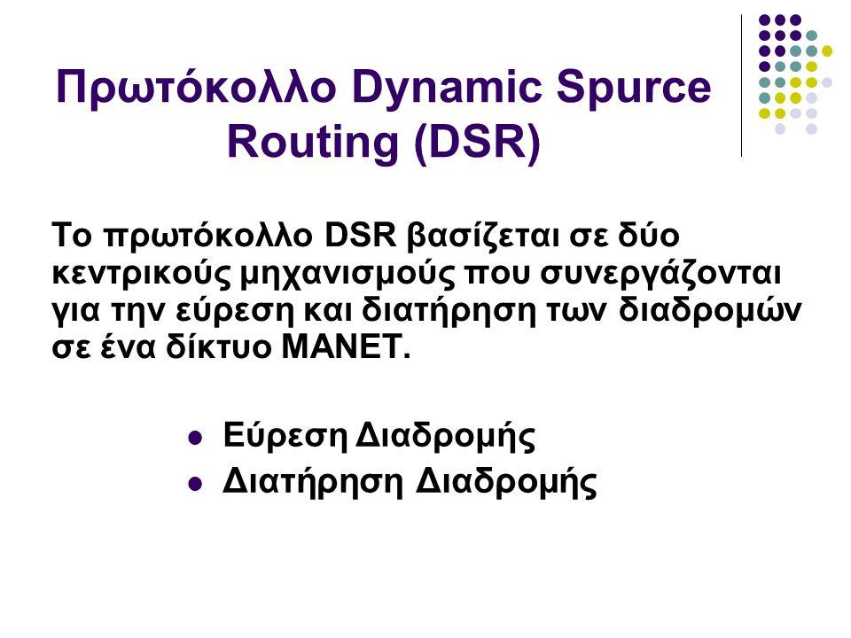 Το πρωτόκολλο DSR βασίζεται σε δύο κεντρικούς μηχανισμούς που συνεργάζονται για την εύρεση και διατήρηση των διαδρομών σε ένα δίκτυο MANET.