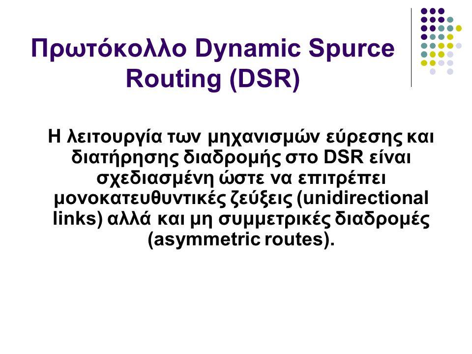 Η λειτουργία των μηχανισμών εύρεσης και διατήρησης διαδρομής στο DSR είναι σχεδιασμένη ώστε να επιτρέπει μονοκατευθυντικές ζεύξεις (unidirectional links) αλλά και μη συμμετρικές διαδρομές (asymmetric routes).