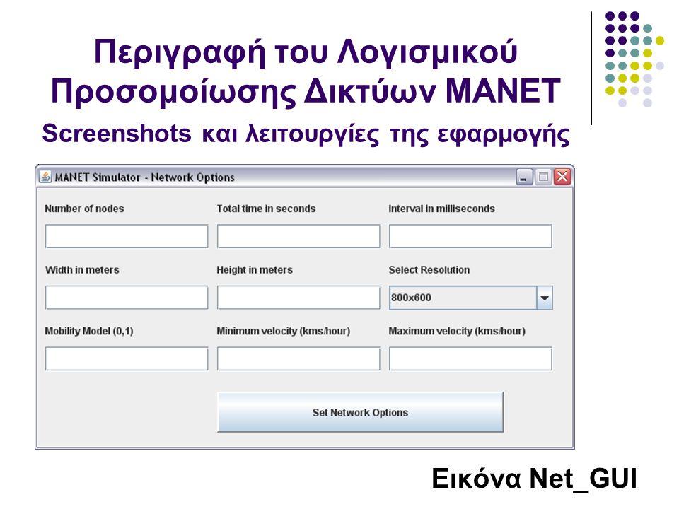 Εικόνα Net_GUI Περιγραφή του Λογισμικού Προσομοίωσης Δικτύων MANET Screenshots και λειτουργίες της εφαρμογής