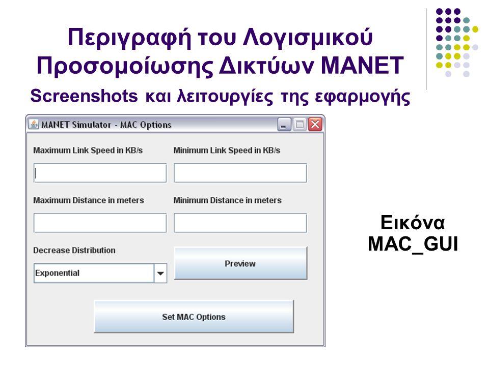 Εικόνα MAC_GUI Περιγραφή του Λογισμικού Προσομοίωσης Δικτύων MANET Screenshots και λειτουργίες της εφαρμογής