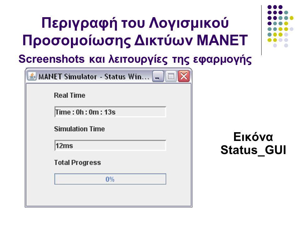 Εικόνα Status_GUI Περιγραφή του Λογισμικού Προσομοίωσης Δικτύων MANET Screenshots και λειτουργίες της εφαρμογής