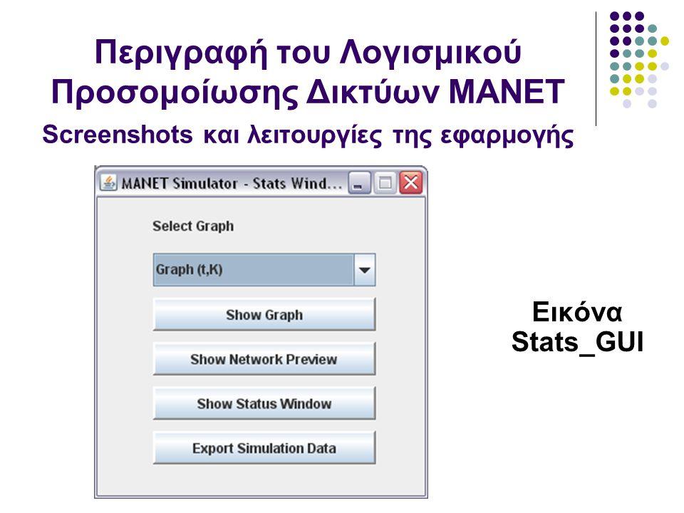 Εικόνα Stats_GUI Περιγραφή του Λογισμικού Προσομοίωσης Δικτύων MANET Screenshots και λειτουργίες της εφαρμογής