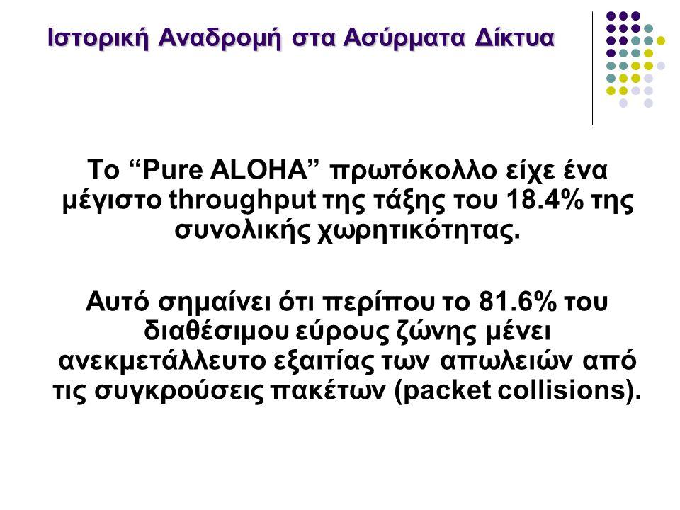 Ιστορική Αναδρομή στα Ασύρματα Δίκτυα Το Pure ALOHA πρωτόκολλο είχε ένα μέγιστο throughput της τάξης του 18.4% της συνολικής χωρητικότητας.