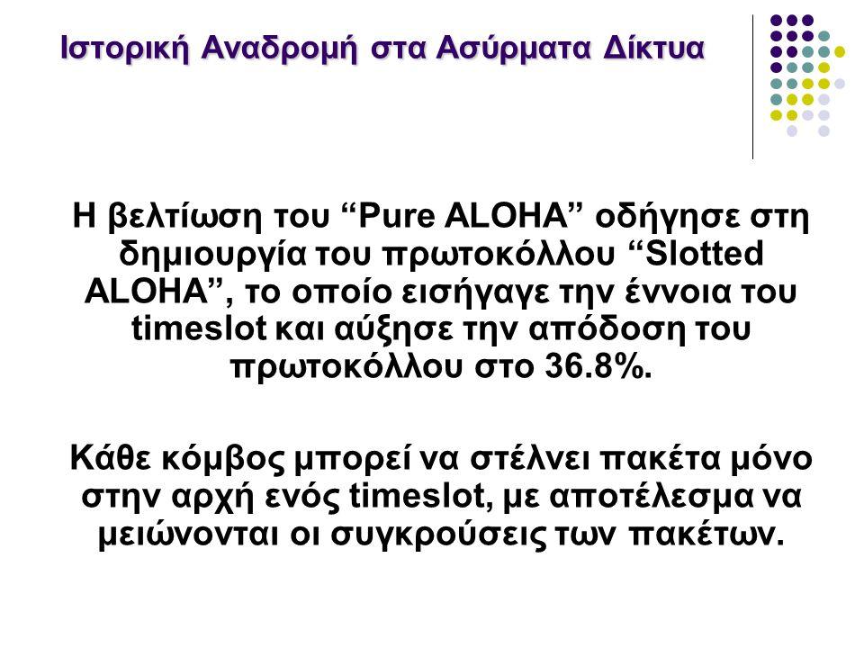Ιστορική Αναδρομή στα Ασύρματα Δίκτυα Η βελτίωση του Pure ALOHA οδήγησε στη δημιουργία του πρωτοκόλλου Slotted ALOHA , το οποίο εισήγαγε την έννοια του timeslot και αύξησε την απόδοση του πρωτοκόλλου στο 36.8%.