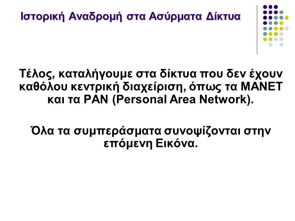 Ιστορική Αναδρομή στα Ασύρματα Δίκτυα Τέλος, καταλήγουμε στα δίκτυα που δεν έχουν καθόλου κεντρική διαχείριση, όπως τα MANET και τα PAN (Personal Area Network).