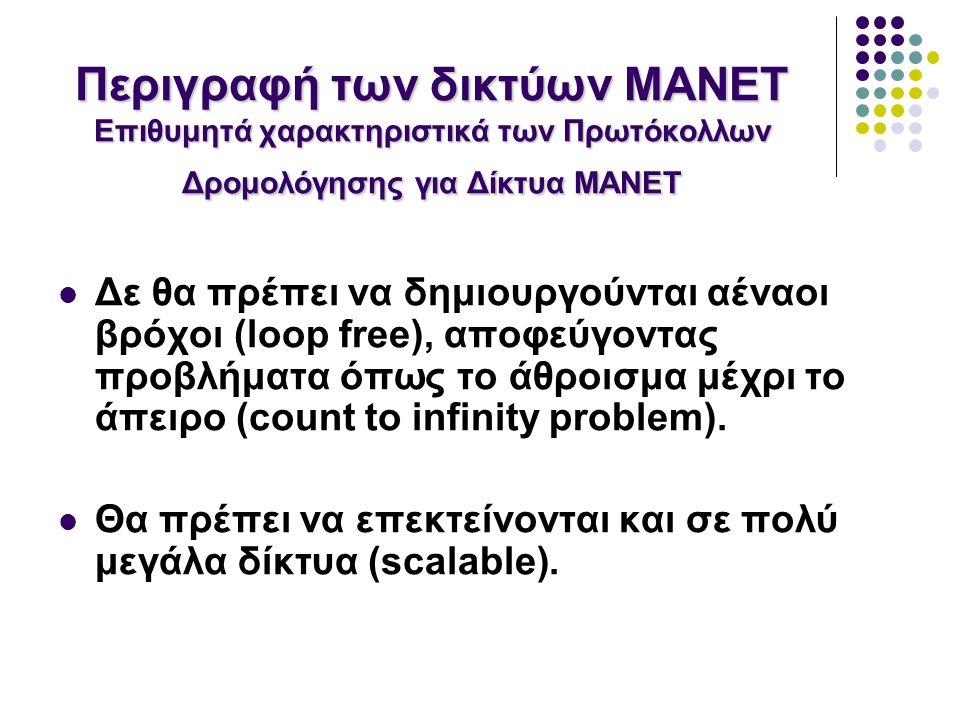 Δε θα πρέπει να δημιουργούνται αέναοι βρόχοι (loop free), αποφεύγοντας προβλήματα όπως το άθροισμα μέχρι το άπειρο (count to infinity problem).