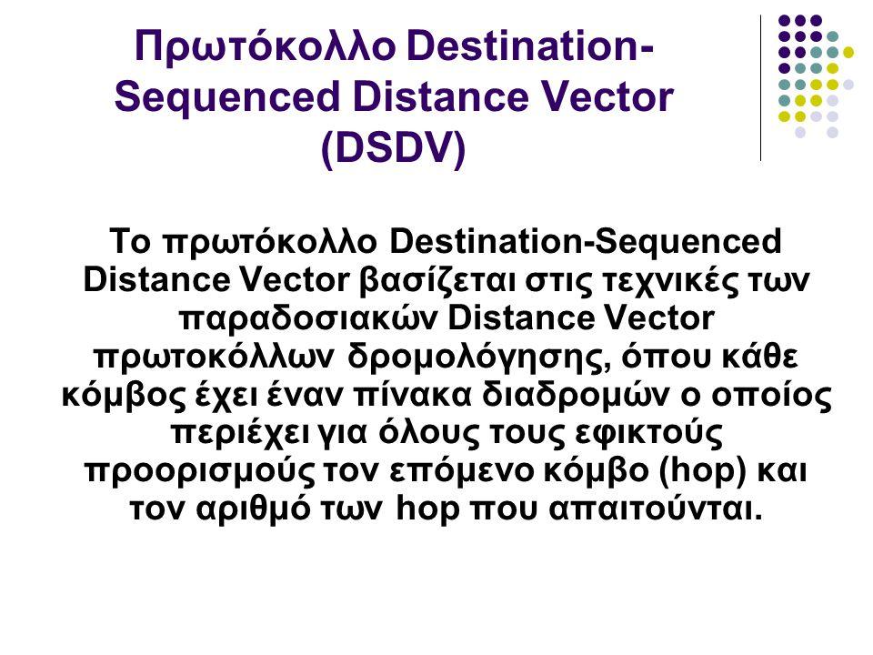 Το πρωτόκολλο Destination-Sequenced Distance Vector βασίζεται στις τεχνικές των παραδοσιακών Distance Vector πρωτοκόλλων δρομολόγησης, όπου κάθε κόμβος έχει έναν πίνακα διαδρομών ο οποίος περιέχει για όλους τους εφικτούς προορισμούς τον επόμενο κόμβο (hop) και τον αριθμό των hop που απαιτούνται.