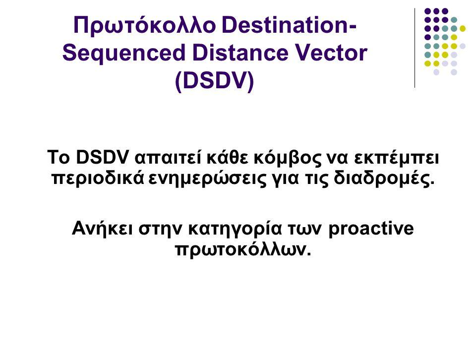 Το DSDV απαιτεί κάθε κόμβος να εκπέμπει περιοδικά ενημερώσεις για τις διαδρομές.