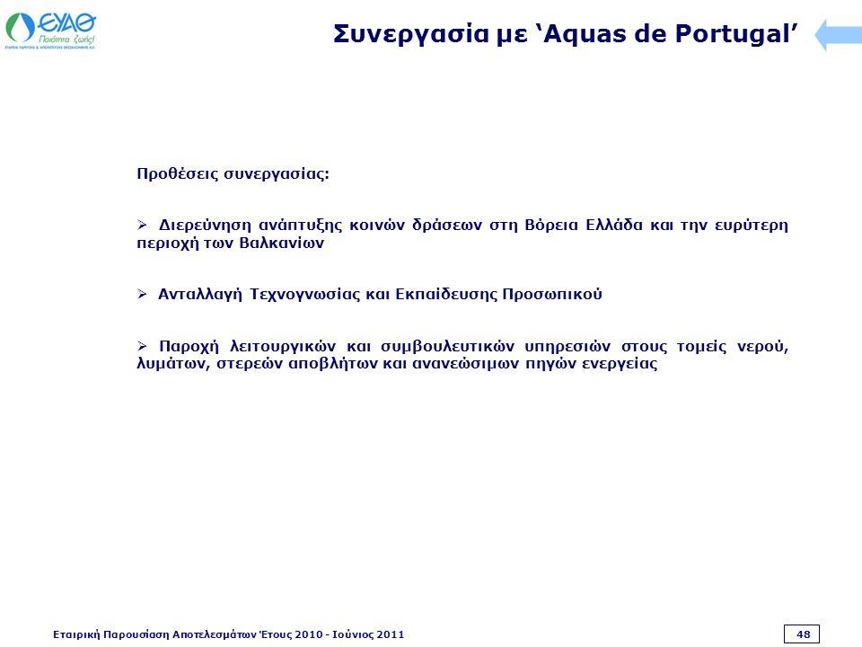 Εταιρική Παρουσίαση Αποτελεσμάτων Έτους 2010 - Ιούνιος 2011 48 Συνεργασία με 'Aquas de Portugal' Προθέσεις συνεργασίας:  Διερεύνηση ανάπτυξης κοινών δράσεων στη Βόρεια Ελλάδα και την ευρύτερη περιοχή των Βαλκανίων  Ανταλλαγή Τεχνογνωσίας και Εκπαίδευσης Προσωπικού  Παροχή λειτουργικών και συμβουλευτικών υπηρεσιών στους τομείς νερού, λυμάτων, στερεών αποβλήτων και ανανεώσιμων πηγών ενεργείας