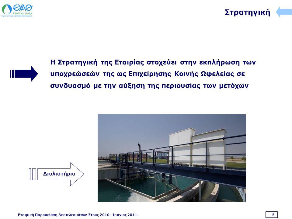 Εταιρική Παρουσίαση Αποτελεσμάτων Έτους 2010 - Ιούνιος 2011 5 Στρατηγική Η Στρατηγική της Εταιρίας στοχεύει στην εκπλήρωση των υποχρεώσεών της ως Επιχείρησης Κοινής Ωφελείας σε συνδυασμό με την αύξηση της περιουσίας των μετόχων Διυλιστήριο
