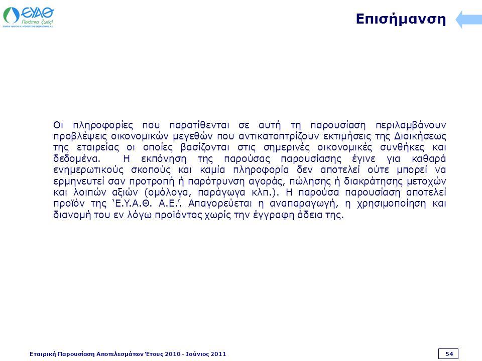 Εταιρική Παρουσίαση Αποτελεσμάτων Έτους 2010 - Ιούνιος 2011 54 Επισήμανση Οι πληροφορίες που παρατίθενται σε αυτή τη παρουσίαση περιλαμβάνουν προβλέψεις οικονομικών μεγεθών που αντικατοπτρίζουν εκτιμήσεις της Διοικήσεως της εταιρείας οι οποίες βασίζονται στις σημερινές οικονομικές συνθήκες και δεδομένα.