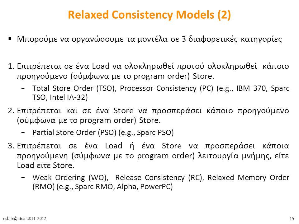19cslab@ntua 2011-2012 Relaxed Consistency Models (2)  Μπορούμε να οργανώσουμε τα μοντέλα σε 3 διαφορετικές κατηγορίες 1.Επιτρέπεται σε ένα Load να ολοκληρωθεί προτού ολοκληρωθεί κάποιο προηγούμενο (σύμφωνα με το program order) Store.