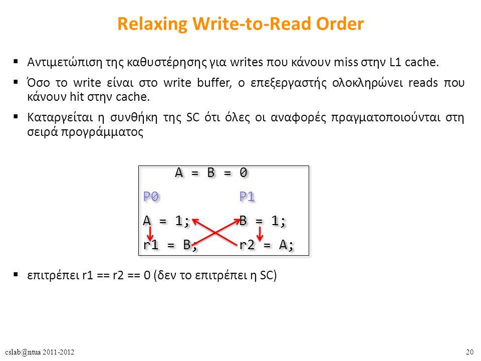 20cslab@ntua 2011-2012 Relaxing Write-to-Read Order  Αντιμετώπιση της καθυστέρησης για writes που κάνουν miss στην L1 cache.  Όσο το write είναι στο