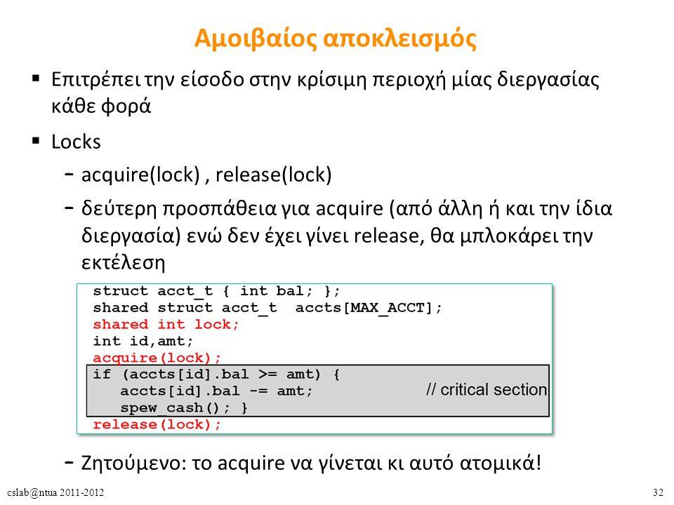 32cslab@ntua 2011-2012 Αμοιβαίος αποκλεισμός  Επιτρέπει την είσοδο στην κρίσιμη περιοχή μίας διεργασίας κάθε φορά  Locks – acquire(lock), release(lock) – δεύτερη προσπάθεια για acquire (από άλλη ή και την ίδια διεργασία) ενώ δεν έχει γίνει release, θα μπλοκάρει την εκτέλεση – Ζητούμενο: το acquire να γίνεται κι αυτό ατομικά!