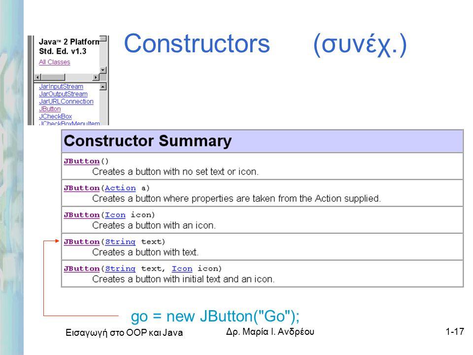 Εισαγωγή στο ΟΟΡ και Java Δρ. Μαρία Ι. Ανδρέου1-17 Constructors (συνέχ.) go = new JButton( Go );