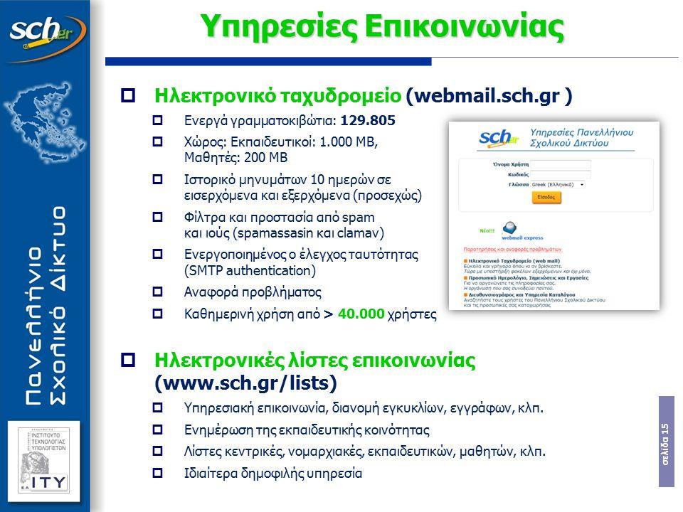 σελίδα 15 Υπηρεσίες Επικοινωνίας  Ηλεκτρονικό ταχυδρομείο (webmail.sch.gr )  Ενεργά γραμματοκιβώτια: 129.805  Χώρος: Εκπαιδευτικοί: 1.000 ΜΒ, Μαθητ