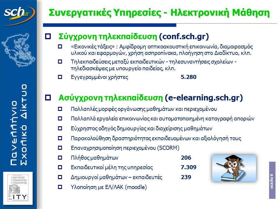 σελίδα 10 Συνεργατικές Υπηρεσίες - Blogs  Εκπαιδευτικά Ιστολόγια (blogs.sch.gr)  Εκπαιδευτική χρήση:  Ως πίνακες ανακοινώσεων  Ως μέσα καθοδήγησης με την ανάρτηση οδηγιών  Ως μέσα παρότρυνσης για προβληματισμό και διάλογο  Ως συνεργατικά εργαλεία  Ως ιστότοποι δημοσιότητας  Στατιστικά στοιχεία:  5.050 ιστολόγια, ενεργά >200  Μοναδικοί επισκέπτες ανά μήνα >85.000  Αναβαθμίσεις:  Του database server (έγινε)  Στην έκδοση wordpress 2.9 (μέσα στο καλοκαίρι)  Προσθήκη buddypress (κοινωνική δικτύωση) WordPress MU