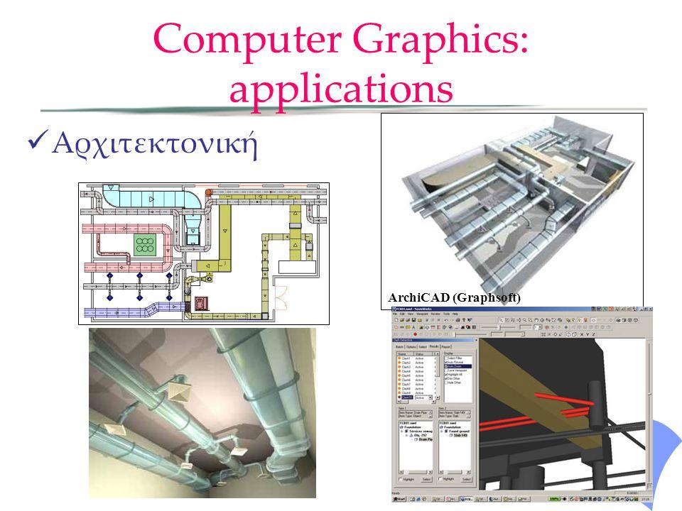 Computer Graphics: applications Αρχιτεκτονική ArchiCAD (Graphsoft)