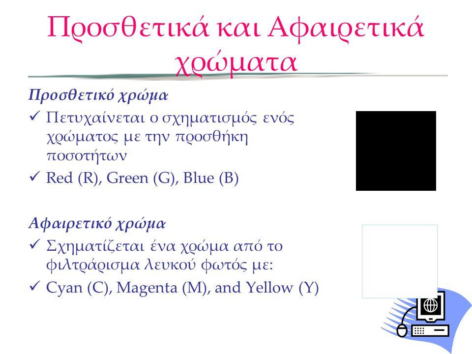Προσθετικά και Αφαιρετικά χρώματα Προσθετικό χρώμα Πετυχαίνεται ο σχηματισμός ενός χρώματος με την προσθήκη ποσοτήτων Red (R), Green (G), Blue (B) Αφα