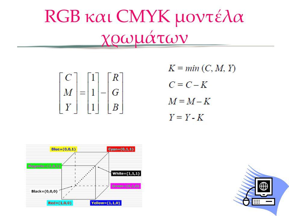 RGB και CMYK μοντέλα χρωμάτων