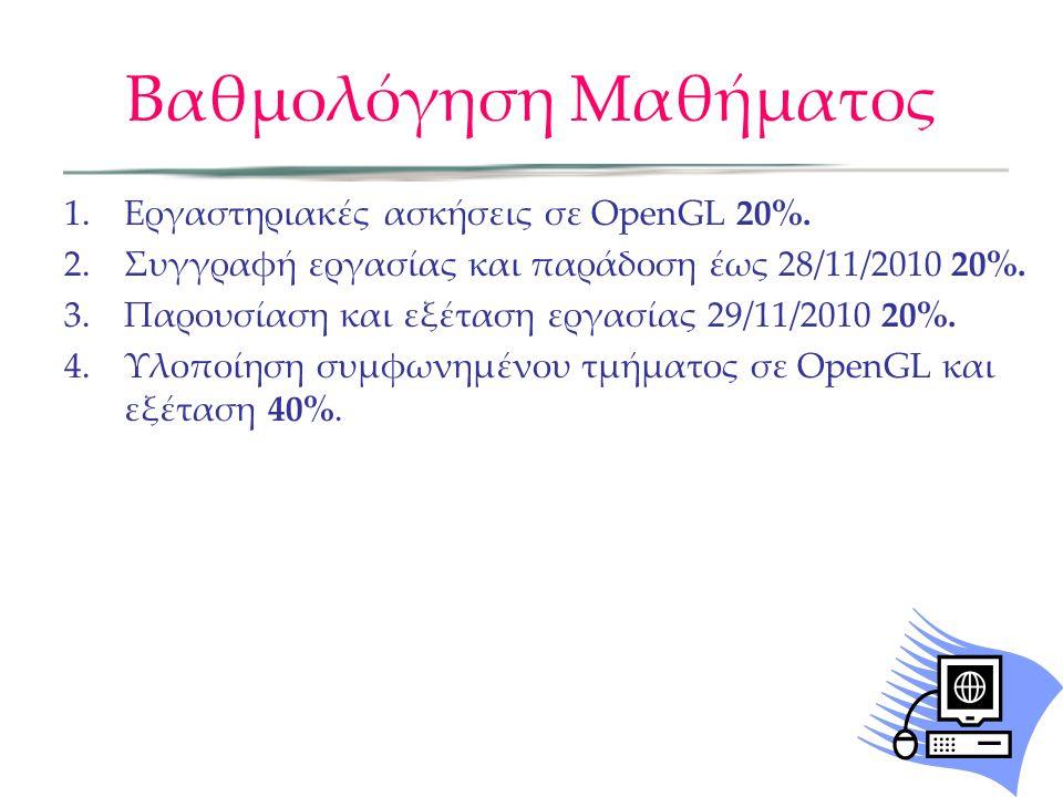 Βαθμολόγηση Μαθήματος 1.Εργαστηριακές ασκήσεις σε OpenGL 20%. 2.Συγγραφή εργασίας και παράδοση έως 28/11/2010 20%. 3.Παρουσίαση και εξέταση εργασίας 2