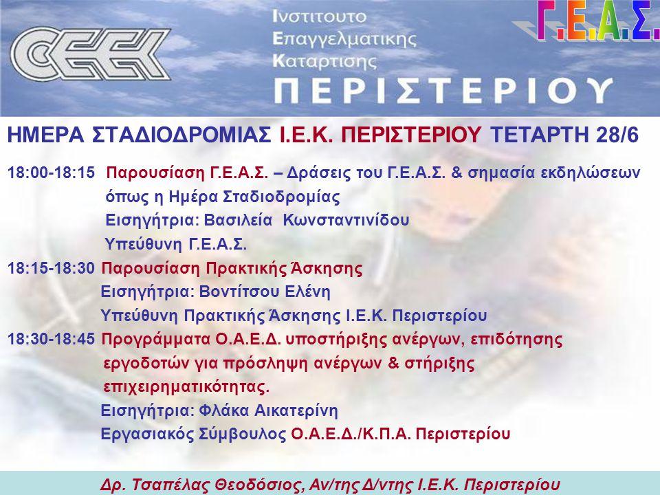 Δρ. Τσαπέλας Θεοδόσιος, Αν/της Δ/ντης Ι.Ε.Κ. Περιστερίου Τι κάνει το Γ.Ε.Α.Σ.; Δρ. Τσαπέλας Θεοδόσιος, Αν/της Δ/ντης Ι.Ε.Κ. Περιστερίου  την ενημέρωσ