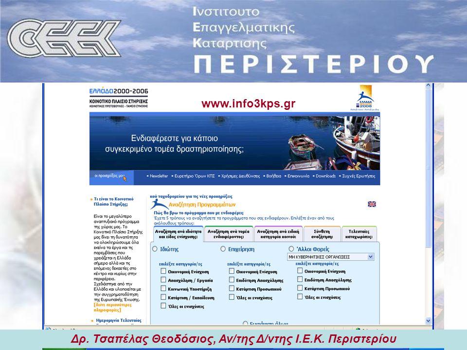 Δρ. Τσαπέλας Θεοδόσιος, Αν/της Δ/ντης Ι.Ε.Κ. Περιστερίου Εισηγήσεις: 1) Λειτουργίες & Χαρακτηριστικά Ασφαλιστικού Τομέα Προφίλ Επαγγέλματος Ασφαλιστή
