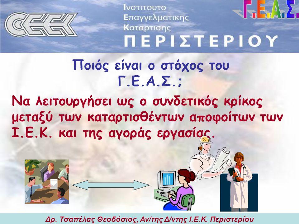 Δρ.Τσαπέλας Θεοδόσιος, Αν/της Δ/ντης Ι.Ε.Κ. Περιστερίου Ποιός είναι ο στόχος του Γ.Ε.Α.Σ.; Δρ.