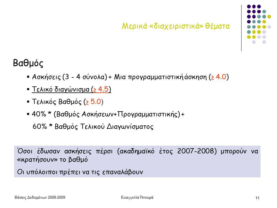 Βάσεις Δεδομένων 2008-2009Ευαγγελία Πιτουρά 11 Μερικά «διαχειριστικά» θέματα Βαθμός  Ασκήσεις (3 - 4 σύνολα) + Μια προγραμματιστική άσκηση (≥ 4.0)  Τελικό διαγώνισμα (≥ 4.5)  Τελικός Βαθμός (≥ 5.0 )  40% * (Βαθμός Ασκήσεων+Προγραμματιστικής) + 60% * Βαθμός Τελικού Διαγωνίσματος Όσοι έδωσαν ασκήσεις πέρσι (ακαδημαϊκό έτος 2007-2008) μπορούν να «κρατήσουν» το βαθμό Οι υπόλοιποι πρέπει να τις επαναλάβουν