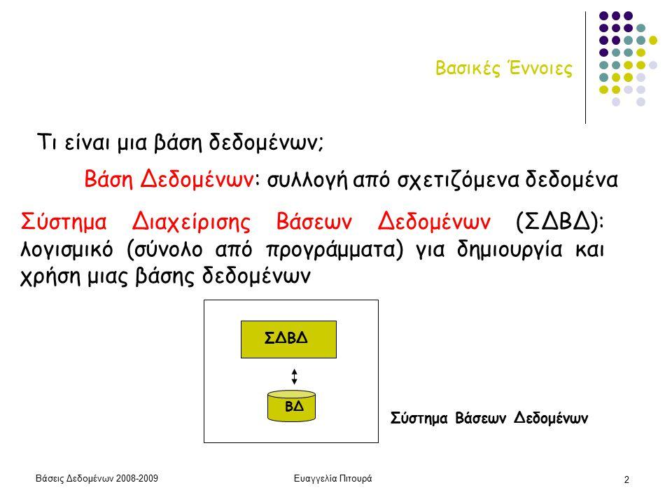 Βάσεις Δεδομένων 2008-2009Ευαγγελία Πιτουρά 2 Βασικές Έννοιες Βάση Δεδομένων: συλλογή από σχετιζόμενα δεδομένα Σύστημα Διαχείρισης Βάσεων Δεδομένων (ΣΔΒΔ): λογισμικό (σύνολο από προγράμματα) για δημιουργία και χρήση μιας βάσης δεδομένων Τι είναι μια βάση δεδομένων; ΒΔ ΣΔΒΔ Σύστημα Βάσεων Δεδομένων
