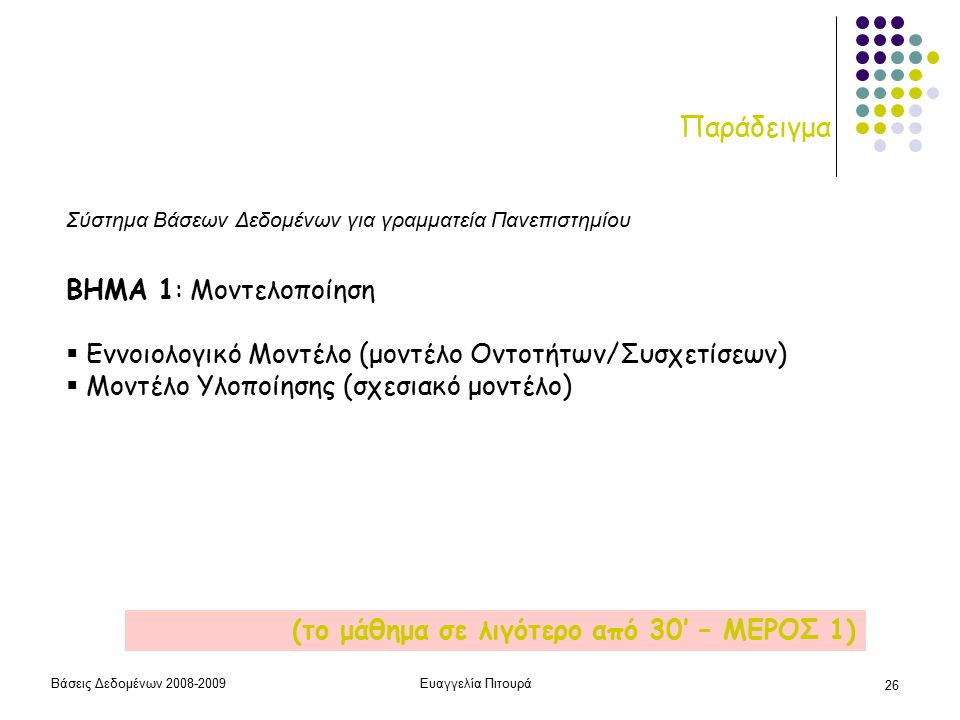 Βάσεις Δεδομένων 2008-2009Ευαγγελία Πιτουρά 26 Παράδειγμα ΒΗΜΑ 1: Μοντελοποίηση  Εννοιολογικό Μοντέλο (μοντέλο Οντοτήτων/Συσχετίσεων)  Μοντέλο Υλοποίησης (σχεσιακό μοντέλο) (το μάθημα σε λιγότερο από 30' – ΜΕΡΟΣ 1) Σύστημα Βάσεων Δεδομένων για γραμματεία Πανεπιστημίου