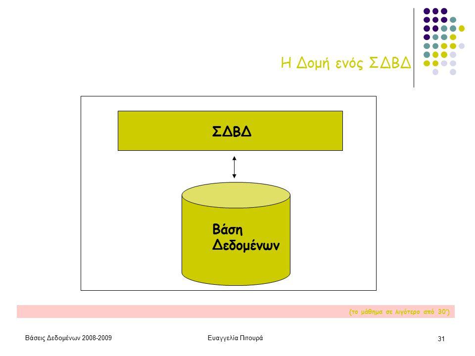 Βάσεις Δεδομένων 2008-2009Ευαγγελία Πιτουρά 31 Η Δομή ενός ΣΔΒΔ ΣΔΒΔ Βάση Δεδομένων (το μάθημα σε λιγότερο από 30')