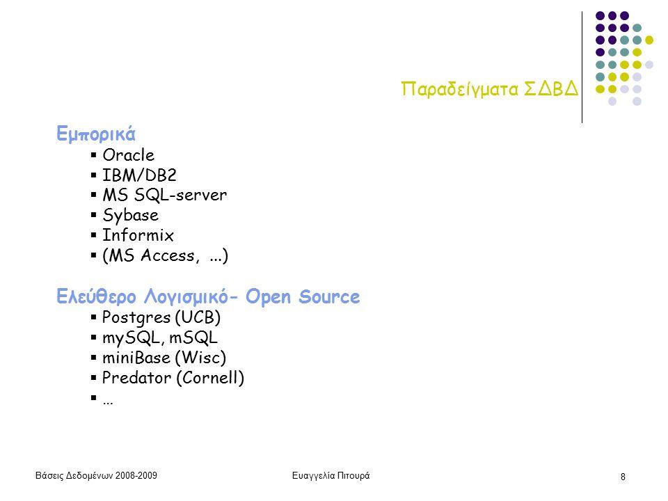 Βάσεις Δεδομένων 2008-2009Ευαγγελία Πιτουρά 29 Παράδειγμα ΒΗΜΑ 2: Προγραμματισμός/Υλοποίηση – σε σχεσιακό ΣΔΒΔ  Ορισμός Σχέσεων (πρόθεση/σχήμα)  Εισαγωγή Στοιχείων (δημιουργία του αρχικού στιγμιότυπου)  Διατύπωση Ερωτήσεων create table R(A1 T1, A2, T2, …) insert/delete select from where (το μάθημα σε λιγότερο από 30' – ΜΕΡΟΣ 1)